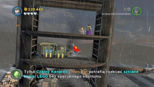 #09 - On the plaza near robot, fly on the metal construction on the left and destroy two crates - Tower Defiance - Minikits - LEGO Batman 2: DC Super Heroes - Game Guide and Walkthrough