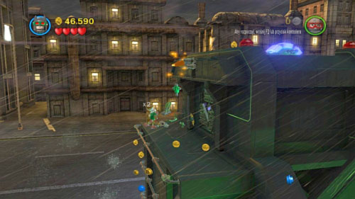 Chemical Signature - when you get to the vehicle's roof move to the left, jump on the platform and eliminate two goons - Citizen in peril - Minikits - LEGO Batman 2: DC Super Heroes - Game Guide and Walkthrough