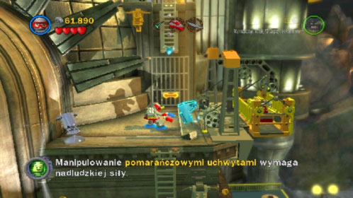 Eliminate all opponents and use magnesium to lower the lift (picture) - Harboring a Criminal | Walkthrough - Walkthrough - LEGO Batman 2: DC Super Heroes Game Guide & Walkthrough