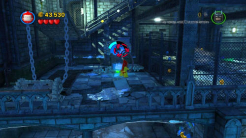 When Robin gets to the top use his hazard suit to fill the vessel standing in front of you (picture) - Asylum Assignment | Walkthrough - Walkthrough - LEGO Batman 2: DC Super Heroes Game Guide & Walkthrough