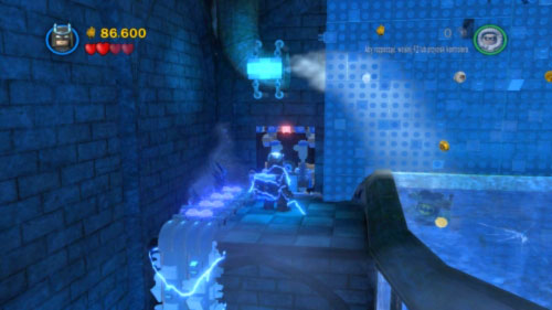Use Robin to pass through ice stream from the pipe and push the windlass (you have to push the green brick) - Asylum Assignment - Walkthrough - LEGO Batman 2: DC Super Heroes - Game Guide and Walkthrough