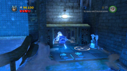 Jump to the small room under you, pull the lever and push the green brick which will shows in the center of the room - Asylum Assignment | Walkthrough - Walkthrough - LEGO Batman 2: DC Super Heroes Game Guide & Walkthrough
