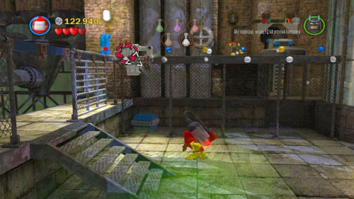 Return to Robin and throw Batarang at silver brick in left top corner (picture) - Chemical Crisis | Walkthrough - Walkthrough - LEGO Batman 2: DC Super Heroes Game Guide & Walkthrough