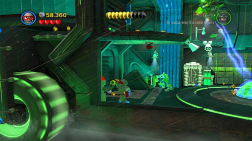 In the room with three electric streams eliminate all enemies and quickly destroy green pipes near chambers - Chemical Signature | Walkthrough - Walkthrough - LEGO Batman 2: DC Super Heroes Game Guide & Walkthrough