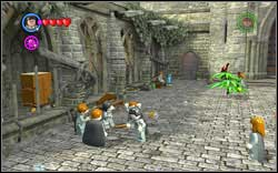On the left side of the courtyard, you will find three students using magic on another one - hit each of them with your magic and they should run away - Bonuses - Hogwarts - Walkthrough - LEGO Harry Potter: Years 1-4 - Game Guide and Walkthrough