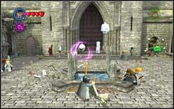 Collect Ghost Studs: Destroy all four statues by the fountain - Bonuses - Hogwarts - Walkthrough - LEGO Harry Potter: Years 1-4 - Game Guide and Walkthrough