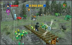 Ron (Tuxedo): Destroy three big chests with normal magic and then use (WL) to assemble a bridge, on which's end the token will appear - Bonuses - Hogwarts - Walkthrough - LEGO Harry Potter: Years 1-4 - Game Guide and Walkthrough