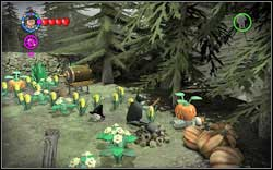 (Time Travel) On the right, the student is crushed by a pumpkin - use a normal spell on it - Bonuses - Hogwarts - Walkthrough - LEGO Harry Potter: Years 1-4 - Game Guide and Walkthrough