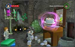 Right by the entrance, use (RD) on the chest and move the cake (WL) onto the painting - Bonuses - Hogwarts - Walkthrough - LEGO Harry Potter: Years 1-4 - Game Guide and Walkthrough