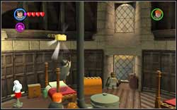 Destroy all upper parts of the four beds using magic and the brick will appear on one of them - Bonuses - Hogwarts - Walkthrough - LEGO Harry Potter: Years 1-4 - Game Guide and Walkthrough