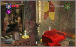 Gryffindor Boy: Right behind the couch on the left side of the room - Bonuses - Hogwarts - Walkthrough - LEGO Harry Potter: Years 1-4 - Game Guide and Walkthrough