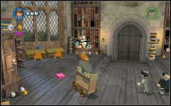 Alicia Spinnet: Use a character with a book on the cabinet at the back of the room and then assemble a cart (WL) - Bonuses - Hogwarts - Walkthrough - LEGO Harry Potter: Years 1-4 - Game Guide and Walkthrough