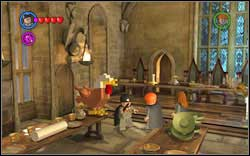 Character Studs: at the end of the left table there's a big brick - once you use magic on it, it will turn into a chicken - Bonuses - Hogwarts - Walkthrough - LEGO Harry Potter: Years 1-4 - Game Guide and Walkthrough