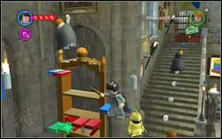Use (WL) on the bookshelf and jump to the very top, where you will help a student - Bonuses - Hogwarts - Walkthrough - LEGO Harry Potter: Years 1-4 - Game Guide and Walkthrough