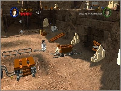 Go back to the right and push the cart - Chapter 5 - Pursuing the Ark - Riders of the Lost Ark - LEGO Indiana Jones: The Original Adventures - Game Guide and Walkthrough