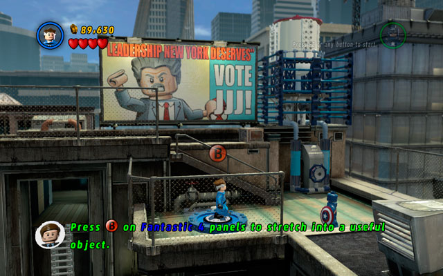 Assemble the team in the one location and go to the middle floor of the roof (between silo and flowerbed) - Times Square Off - Walkthrough - LEGO Marvel Super Heroes - Game Guide and Walkthrough