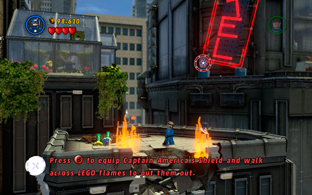 The arch villain will escape, calling some octobots - defeat them and then head right, climbing on the upper level of the building - Times Square Off - Walkthrough - LEGO Marvel Super Heroes - Game Guide and Walkthrough