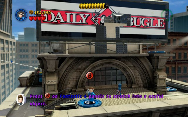 Toss Captain's shield at Doctor Octopus to make him run - Times Square Off - Walkthrough - LEGO Marvel Super Heroes - Game Guide and Walkthrough