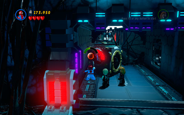 Enter to the corridor and destroy anything you will find there - Exploratory Laboratory - Walkthrough - LEGO Marvel Super Heroes - Game Guide and Walkthrough
