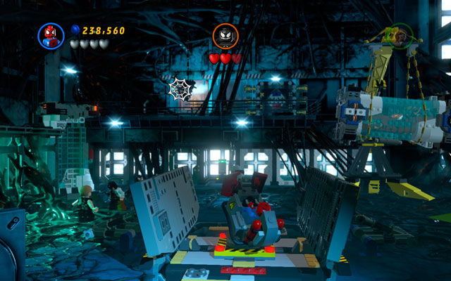 Wait for some time struggling with infinite group of minions - you need to survive long enough to see a computer appearing on the central wall - Exploratory Laboratory - Walkthrough - LEGO Marvel Super Heroes - Game Guide and Walkthrough