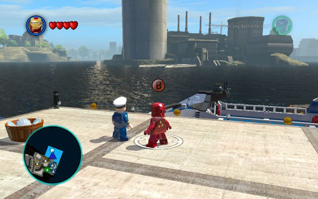 Go to the Raft Ferry Port and destroy a silver container using Iron Man's rockets - New York - Walkthrough - LEGO Marvel Super Heroes - Game Guide and Walkthrough
