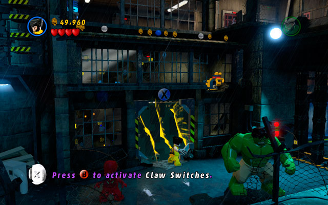 Choose Wolverine and head to the right - when your hero is sniffing something, then use his smell sense to uncover a yellow wall - Rock Up at the Lock Up - Walkthrough - LEGO Marvel Super Heroes - Game Guide and Walkthrough