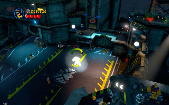 Climb on the wall as Wolverine, jumping between two white-and-blue walls to get to the top of the tower - Rock Up at the Lock Up - Walkthrough - LEGO Marvel Super Heroes - Game Guide and Walkthrough