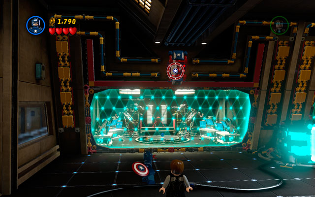 After the beginning of the mission toss Captain America's shield at the patriotic panel located above - Rebooted, Resuited - Walkthrough - LEGO Marvel Super Heroes - Game Guide and Walkthrough