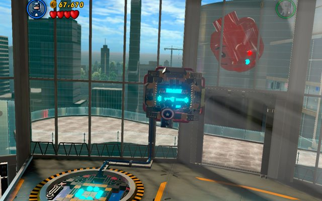 Use Captain America's agility to jump through some poles located in the balustrade, so you can climb on the second floor - Rebooted, Resuited - Walkthrough - LEGO Marvel Super Heroes - Game Guide and Walkthrough
