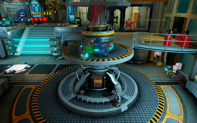Use Captain America to jump between two white-and-blue walls on the right, climbing up in that way - Rebooted, Resuited - Walkthrough - LEGO Marvel Super Heroes - Game Guide and Walkthrough