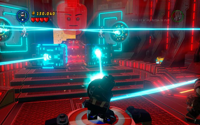 In new location defeat all enemies, then approach to two panels located at the end of the room and toss a shield at them - Rebooted, Resuited - Walkthrough - LEGO Marvel Super Heroes - Game Guide and Walkthrough