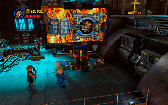 Now you must solve a riddle - turn mirrors with laser rays to reflect patterns showed in the down-left corner of the screen - Red Head Detention - Walkthrough - LEGO Marvel Super Heroes - Game Guide and Walkthrough