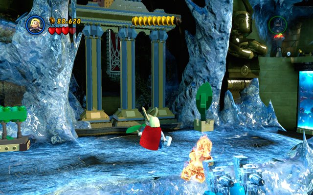 In new location you must fight with endless group of frost giants - they will appear very fast - Bifrosty Reception - Walkthrough - LEGO Marvel Super Heroes - Game Guide and Walkthrough