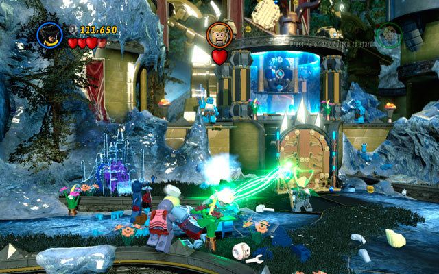 Defeat a group of frost giants, then approach to Loki - Bifrosty Reception - Walkthrough - LEGO Marvel Super Heroes - Game Guide and Walkthrough