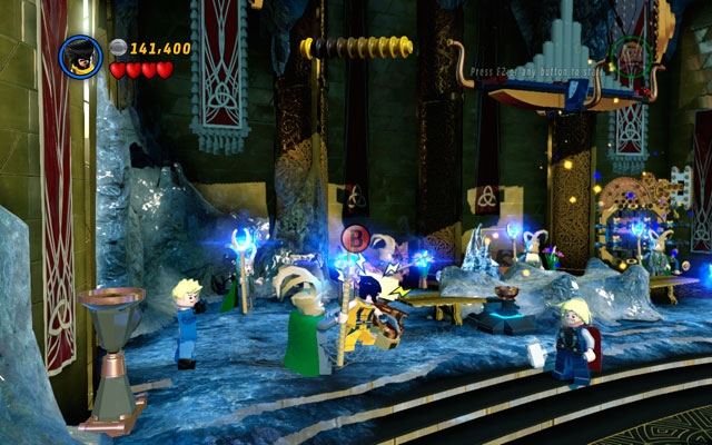 Defeat all giants, then head to the right side of the location, jumping from the one flower to the another - Bifrosty Reception - Walkthrough - LEGO Marvel Super Heroes - Game Guide and Walkthrough