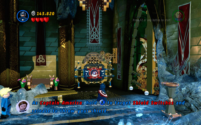 Wait for Loki to escape, then build a shield switch and toss Captain's shield at it - Bifrosty Reception - Walkthrough - LEGO Marvel Super Heroes - Game Guide and Walkthrough