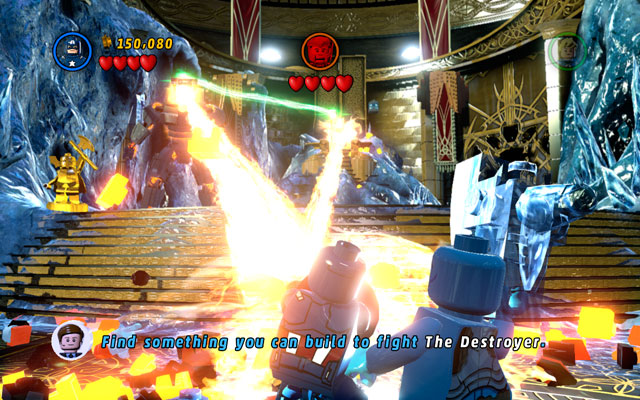 During the fight with Loki you shouldn't bother yourself with frost giants - they will appear endlessly, so killing them will be a waste of time - Bifrosty Reception - Walkthrough - LEGO Marvel Super Heroes - Game Guide and Walkthrough