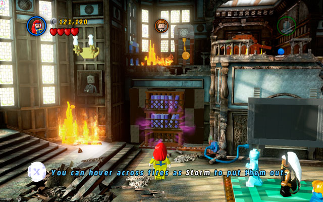 In new location defeat all enemies, then approach to the bookshelves located on the right side of the building - Juggernauts and Crosses - Walkthrough - LEGO Marvel Super Heroes - Game Guide and Walkthrough