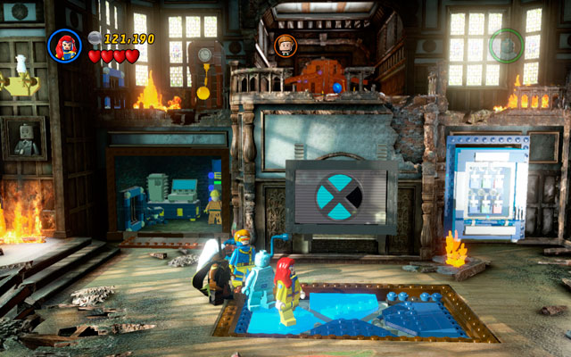 When strange touchpad appears on the floor, stand on it walking from the left to the right side (anticlockwise) - Juggernauts and Crosses - Walkthrough - LEGO Marvel Super Heroes - Game Guide and Walkthrough