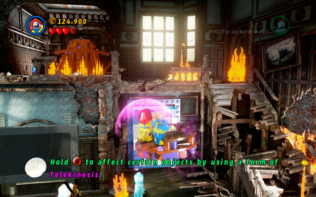 Defeat all opponents, then approach to the right side of the room, building stairs from the scattered bricks (use telekinesis to do that) - Juggernauts and Crosses - Walkthrough - LEGO Marvel Super Heroes - Game Guide and Walkthrough