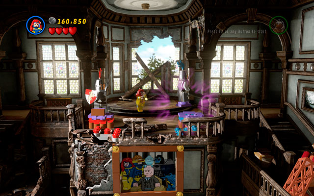 In the next room defeat all thugs, then switch into Storm and fly on the stairs on the right side of the room, extinguishing the fire in that way - Juggernauts and Crosses - Walkthrough - LEGO Marvel Super Heroes - Game Guide and Walkthrough