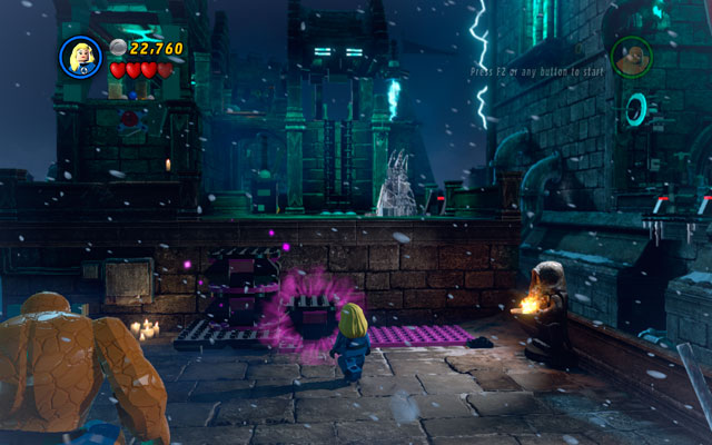 When it is done, destroy other objects lying in the area, then switch into Invisible Woman to build some violet bricks from them - Doctor in the House - Walkthrough - LEGO Marvel Super Heroes - Game Guide and Walkthrough