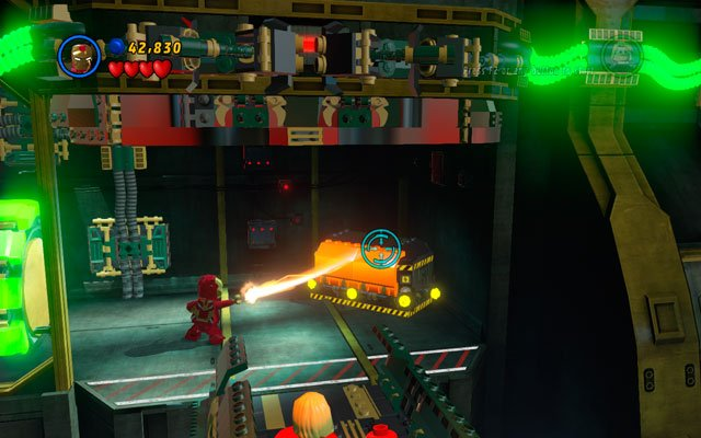 Melt golden box on the right side of the location, then build a battery from the debris - That Sinking Feeling - Walkthrough - LEGO Marvel Super Heroes - Game Guide and Walkthrough