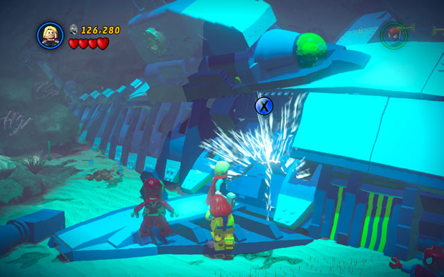 Reach to Doctor Doom's submarine and defeat all enemies hidden there, so you can finally smash the crack located on the vessels surface - That Sinking Feeling - Walkthrough - LEGO Marvel Super Heroes - Game Guide and Walkthrough