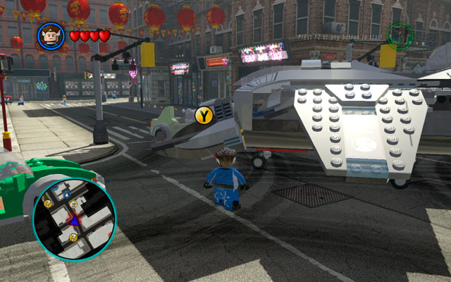 The only goal in this intersection is to jump down from S - S.H.I.E.L.D. Helicarrier / New York - Walkthrough - LEGO Marvel Super Heroes - Game Guide and Walkthrough