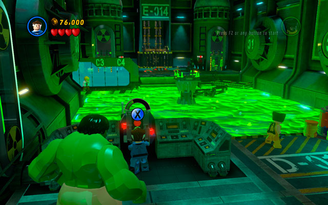 Head to the right, looking for the huge tank of acid - Hulk can pass through it, but other characters must find another way - Taking Liberties - Walkthrough - LEGO Marvel Super Heroes - Game Guide and Walkthrough