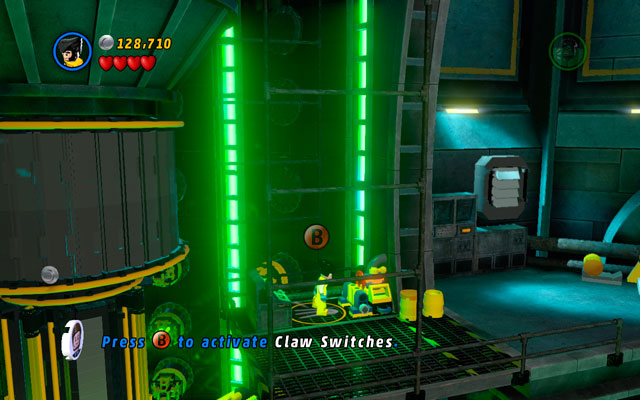 Defeat all opponents standing on the next platform, then break open the wall with green handles - Taking Liberties - Walkthrough - LEGO Marvel Super Heroes - Game Guide and Walkthrough