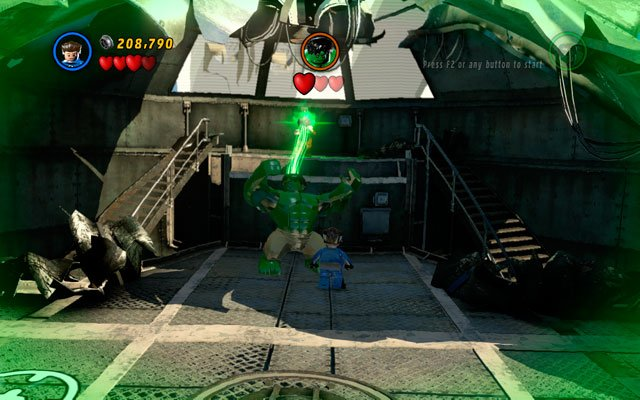 In the last round you must defeat Hulk - hit him hard, finally making him unconscious - Taking Liberties - Walkthrough - LEGO Marvel Super Heroes - Game Guide and Walkthrough