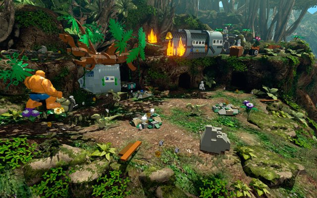 Head to the right, looking for the fallen tree - clean it from the bushes, uncovering two handles in that way - Rapturous Rise - Walkthrough - LEGO Marvel Super Heroes - Game Guide and Walkthrough