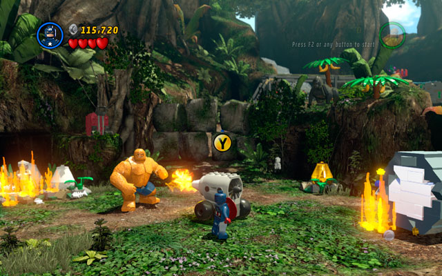 Destroy all objects in the area and build a wall with green handles from the debris - Rapturous Rise - Walkthrough - LEGO Marvel Super Heroes - Game Guide and Walkthrough